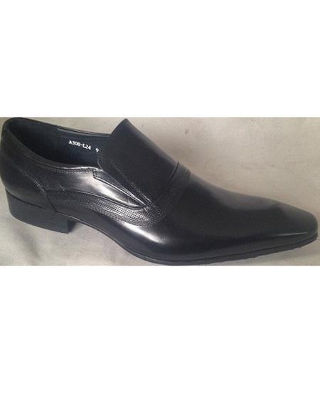 Mens Black Cushioned Insole Cap Toe Slip On Leather Shoe