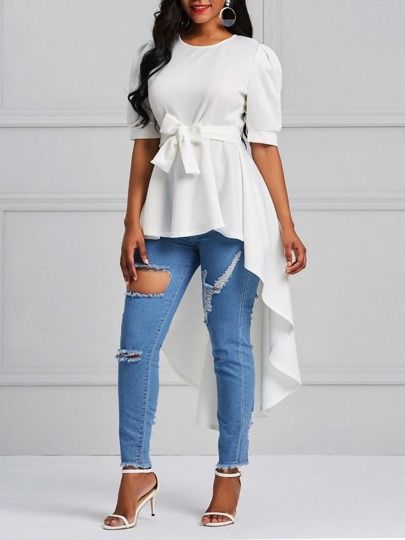 Ericdress Scoop Patchwork Tie Front Ruffles Short Sleeve T-shirt