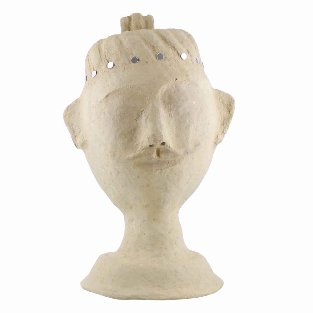 Traditional Style Paper Mash Male Bust with Mirror Detailing, Beige (Beige)