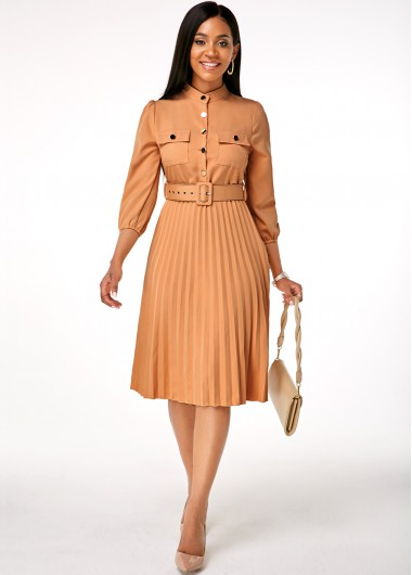 Rosewe Women Khaki Buckle Belted Pleated Hem Button Up Work Dress Solid Color Three Quarter Sleeve Mock Neck Knee Length Casual Dress - XXL