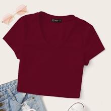 Crop T-Shirt mit V Kragen