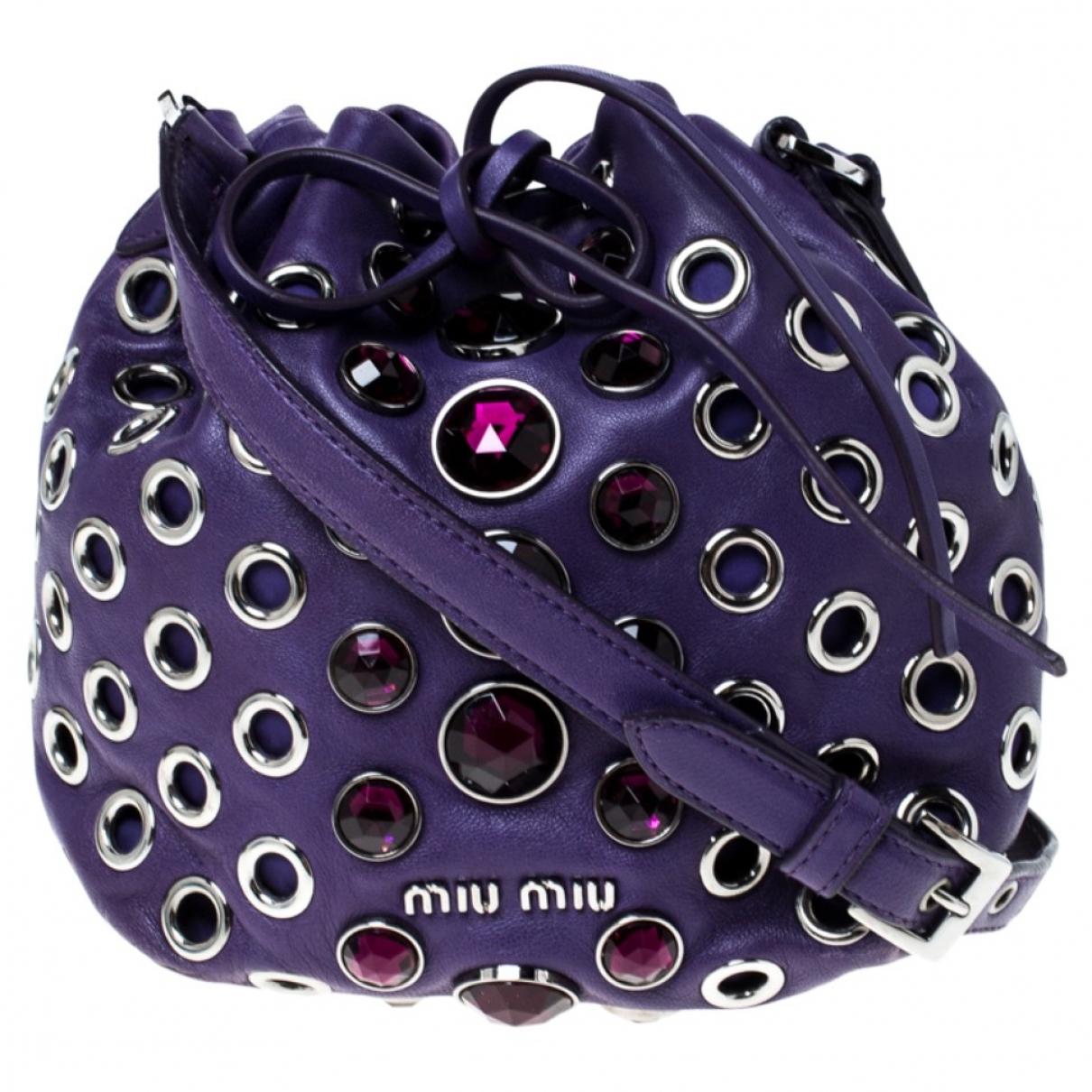 Miu Miu Miu Crystal Handtasche in  Lila Leder