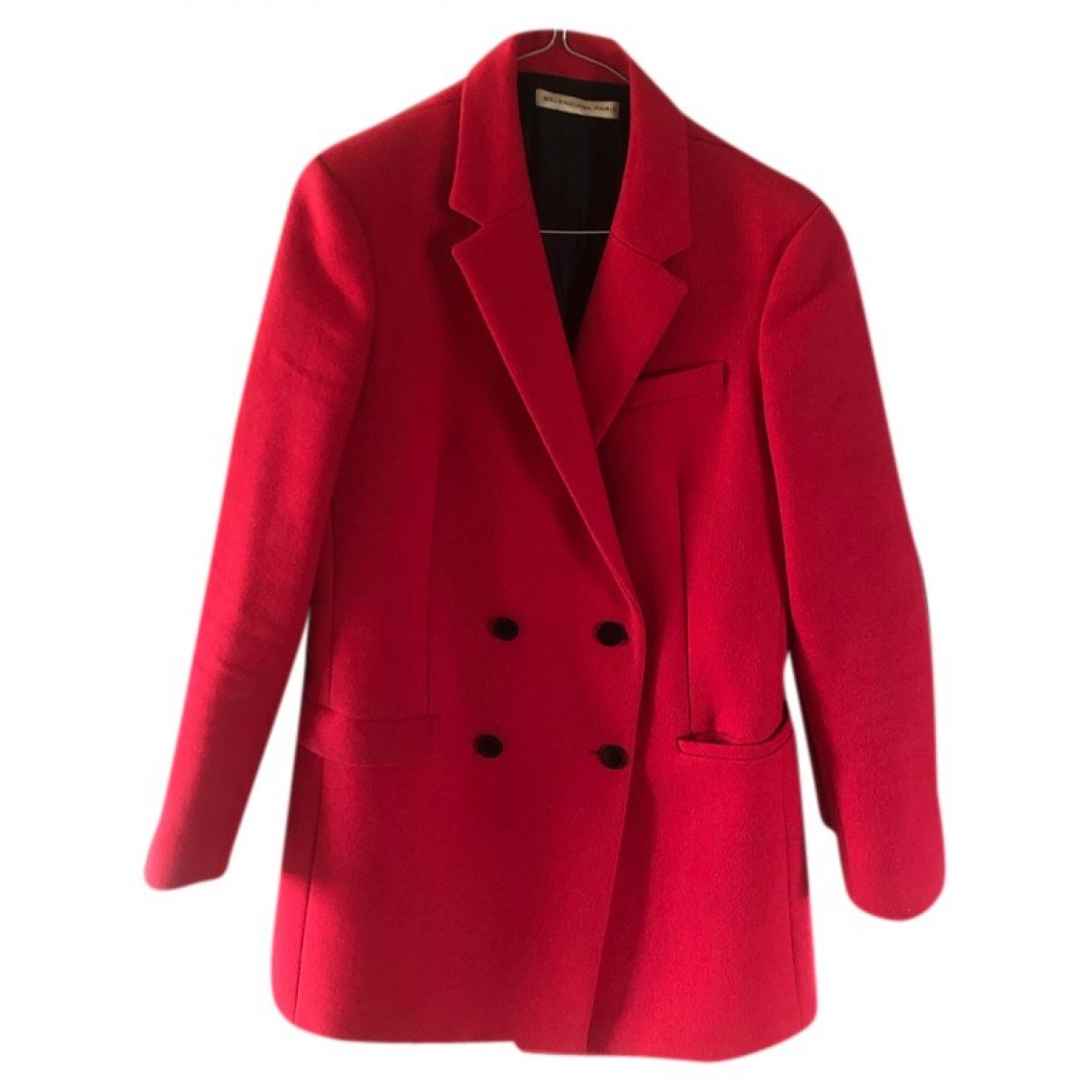 Balenciaga - Manteau   pour femme en laine - rouge