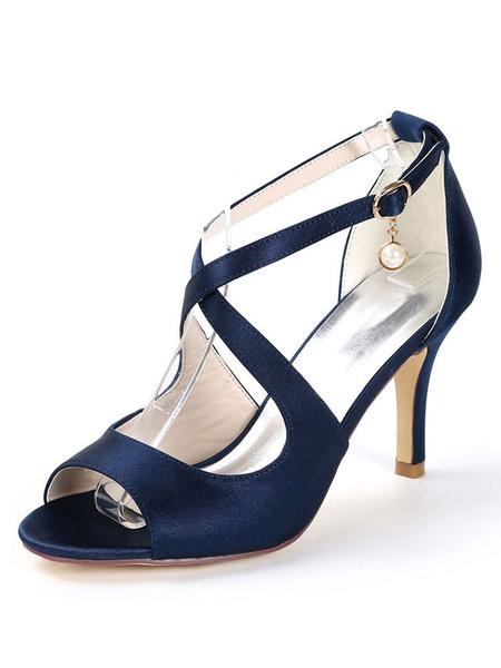 Milanoo Bridal Shoes Wedding Shoes Crisscross Stiletto Heel Sandals