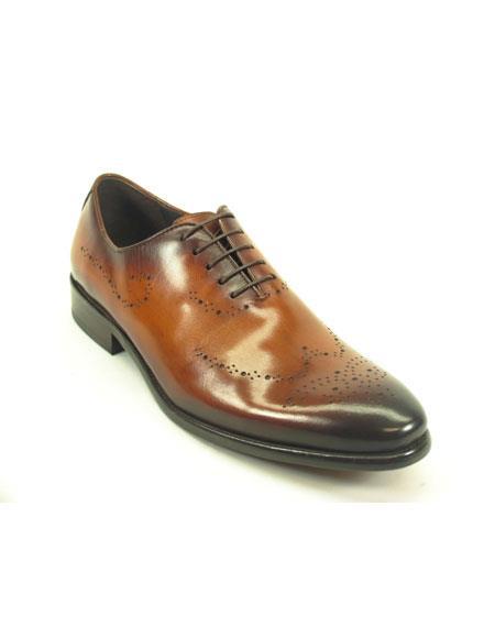 Men's Fashionable Cognac Lace Up Leather Shoe