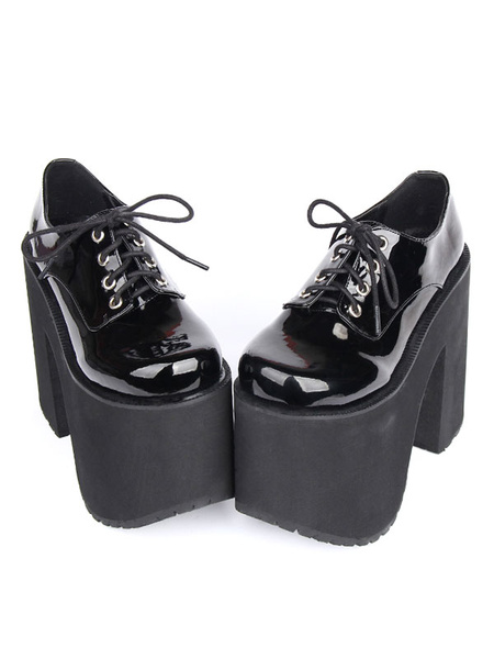 Milanoo Zapatos de lolita negros color liso