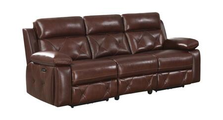 Chester Collection 603441PP Power Reclining Sofa with Tufted Accents  Pillowtop Armrests and Power Outlet with USB Ports in Chocolate
