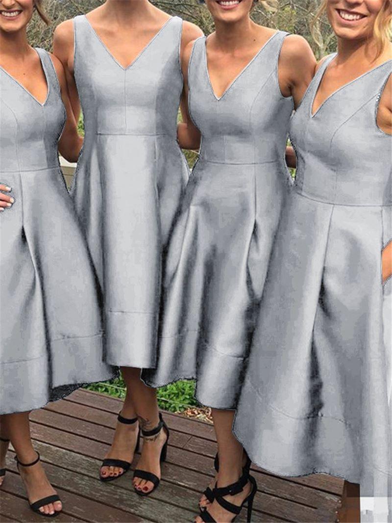 Ericdress V Neck A Line High Low Bridesmaid Dress