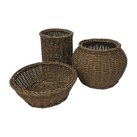 Baum Set Of 3-pc.Brown Faux Wicker Decorative Basket, One Size , Brown