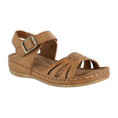 Easy Street Womens Rosalyn Strap Sandals, 7 1/2 Medium, Brown