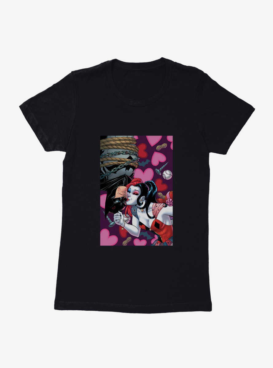 DC Comics Batman Harley Kissing Batman Womens T-Shirt