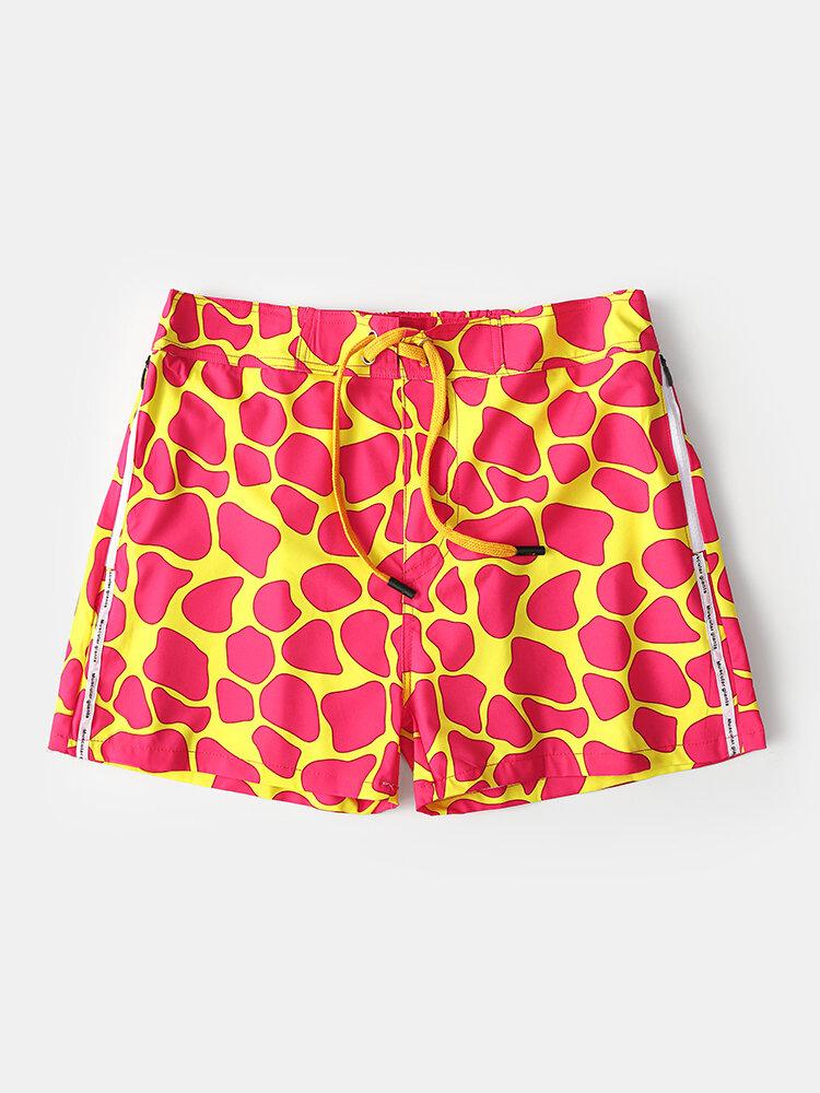 Red & Yellow Spot Colorblock Print Beachwear Pants Drawstring Mesh Line Surfing Swim Trunks