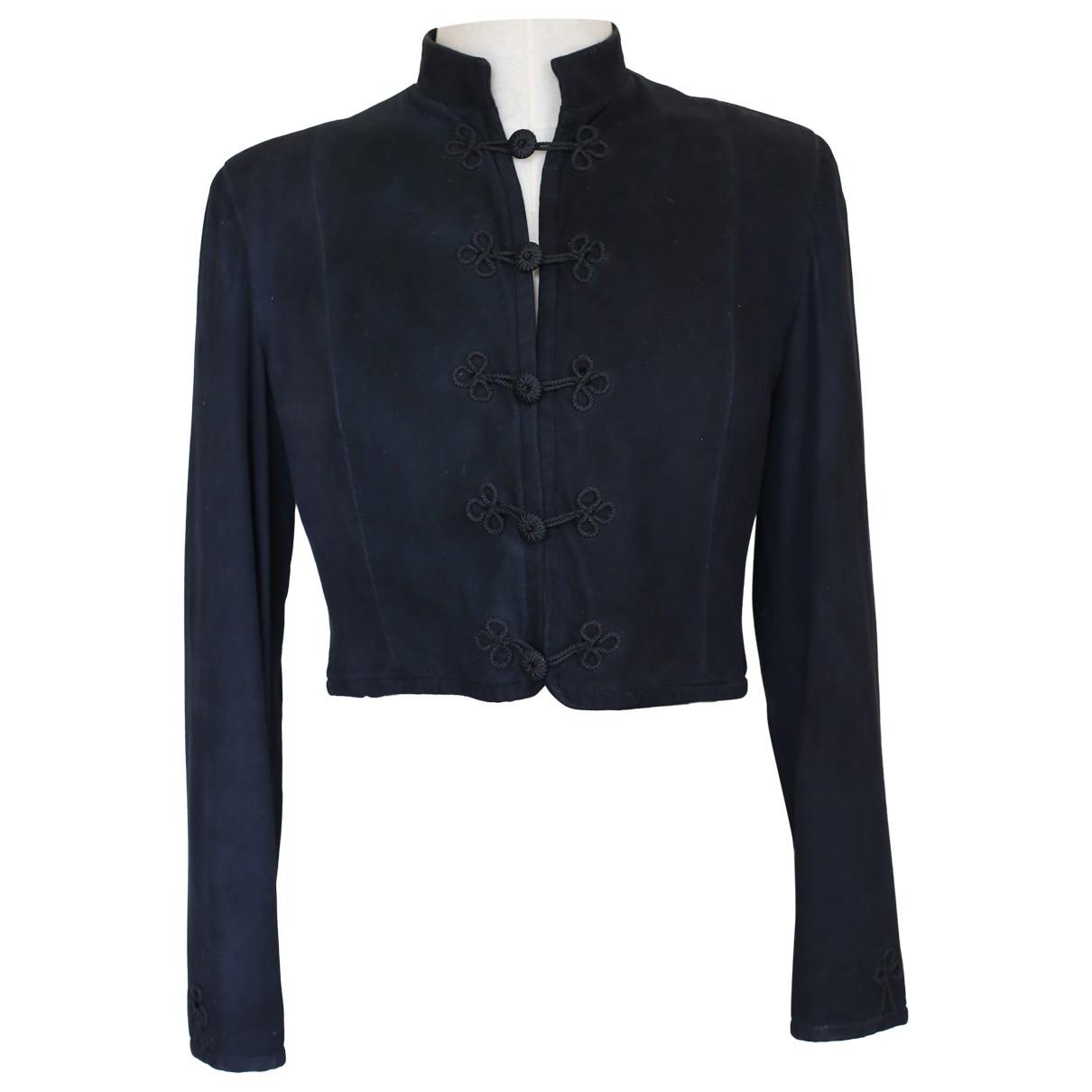 - Veste   pour femme en suede - noir