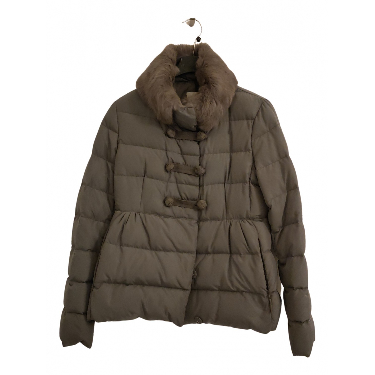 Moncler Fur Hood Grey coat for Women 42 IT