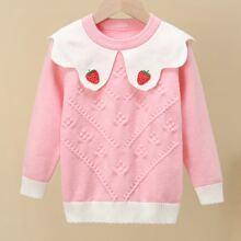Pullover mit Erdbeere Flicken und Bogenkante