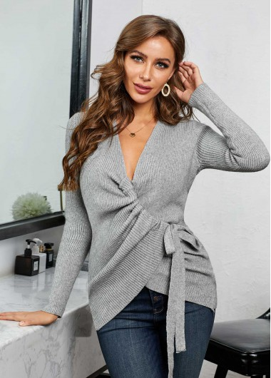 V Neck Tie Side Long Sleeve Cardigan - XL