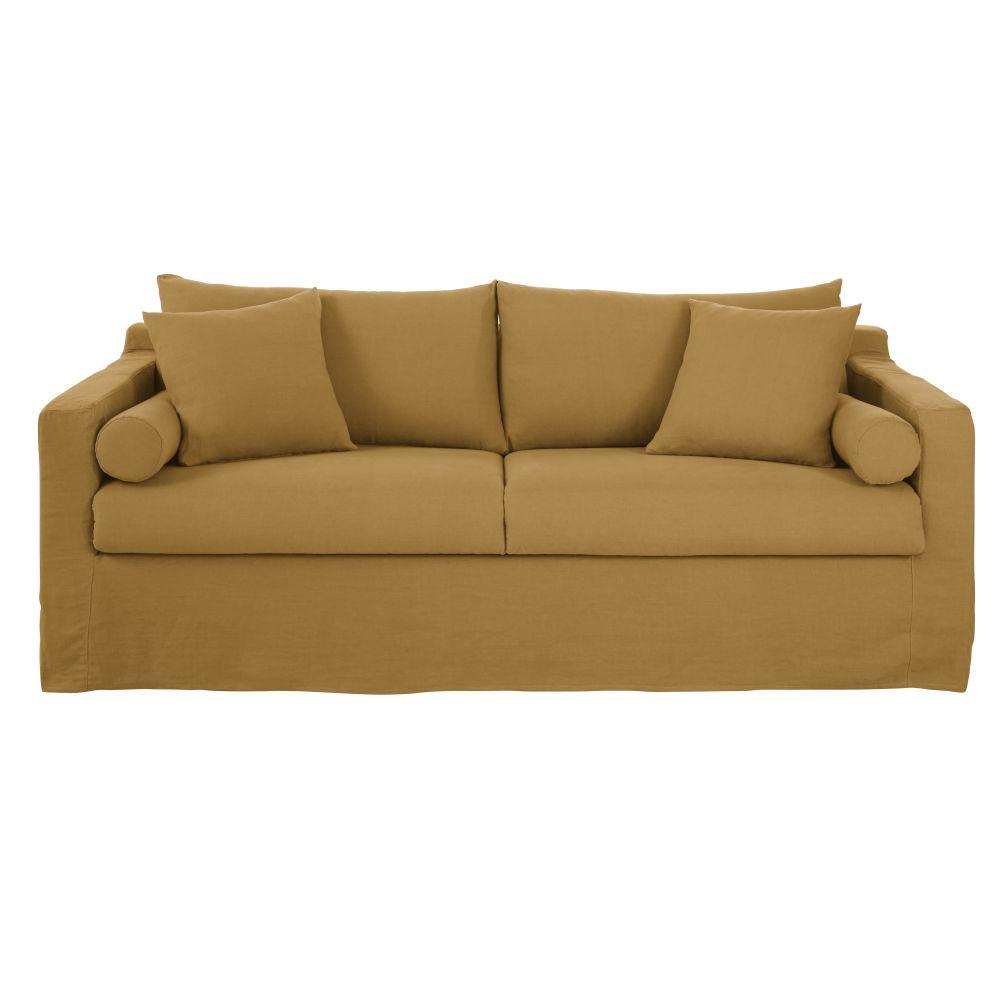 4-Sitzer-Schlafsofa mit ockerfarbenem Leinenbezug Francisco