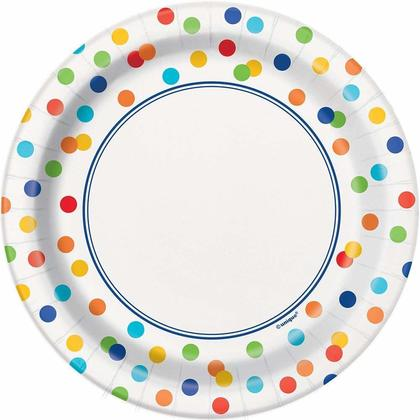 Rainbow Mini Polka Dot Dessert Plates, 8ct Pour la fête d'anniversaire