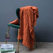 1 Stueck einfarbige Decke mit Quasten