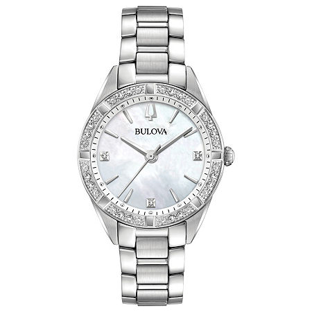 Bulova Sutton Womens Silver Tone Stainless Steel Bracelet Watch-96r228, One Size , No Color Family
