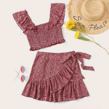 Ruffle Strap Ditsy Floral Top & Ruffle Wrap Skirt Set
