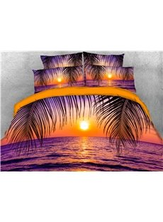 3D Sea and Sunset Peaceful Purple Digital Printed Polyester 4-Piece Bedding Sets/Duvet Covers