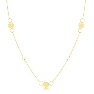 La Preciosa Sterling Silver or Gold Plated Italian Alternating Polished & Open Disc 36'' Necklace (Yellow)