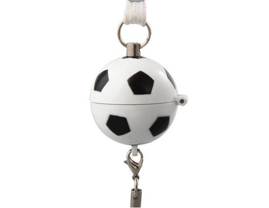 Pull Trigger Football Shaped Mini Flashing Alarm - White
