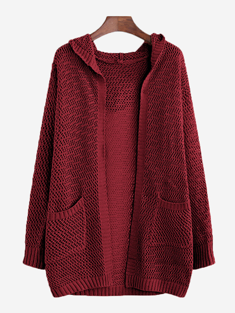 Solid Color Hollow Long Sleeve Hooded Casual Cardigan