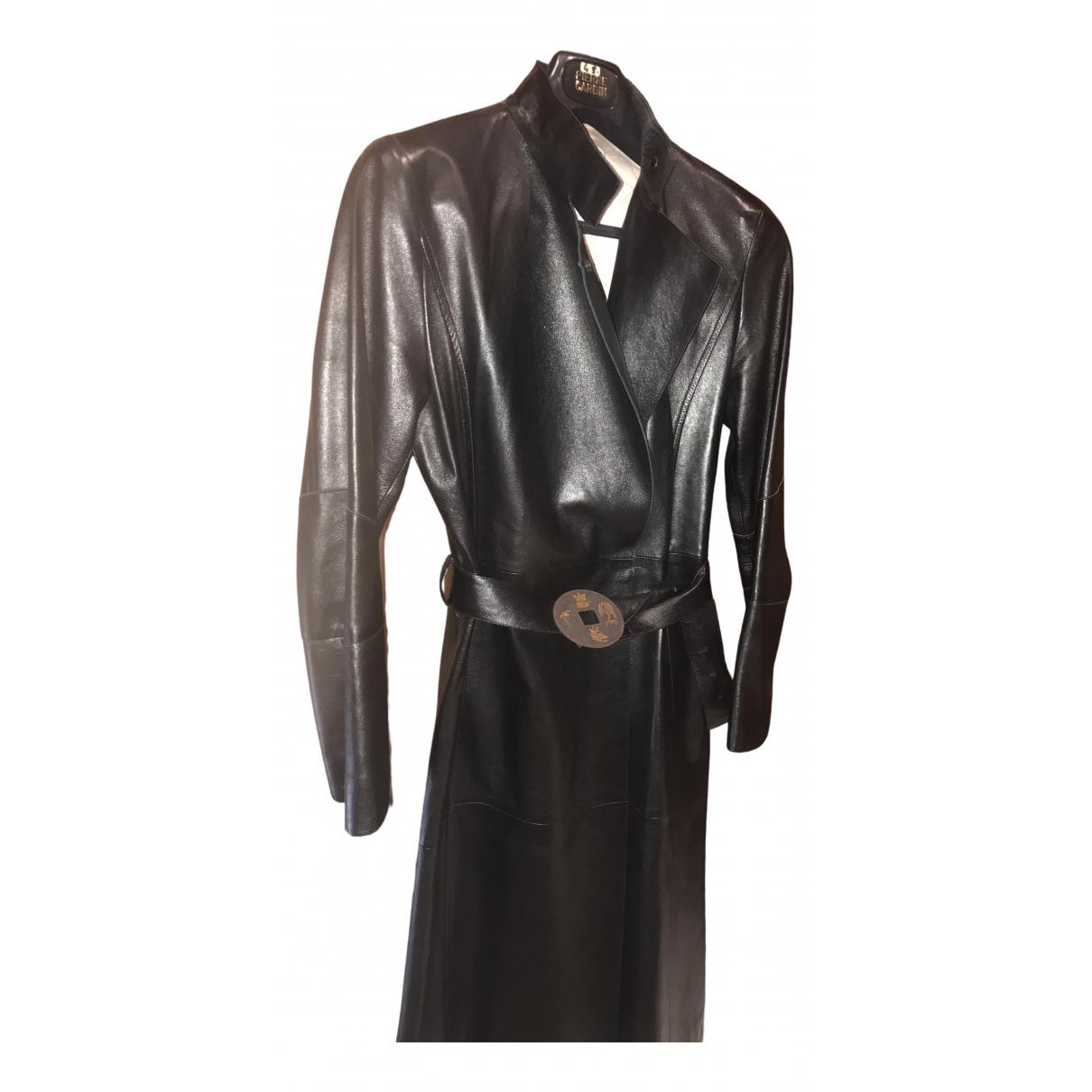 Kenzo - Manteau   pour femme en cuir - noir