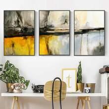 3 Stuecke Wandmalerei mit Grafik Muster ohne Rahmen