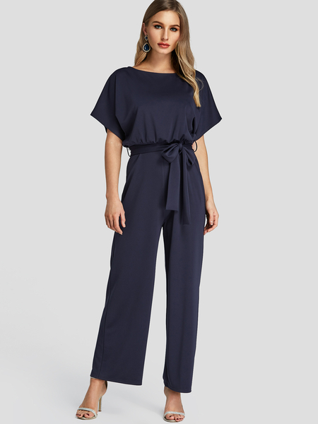 Yoins Navy High-Waisted Wide Leg Jumpsuit with Belt