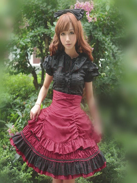 Milanoo Rococo Lolita Skirt SK Cotton Lace Patch Ribbons Layered Ruffles Pleated A Line Lolita Skirt