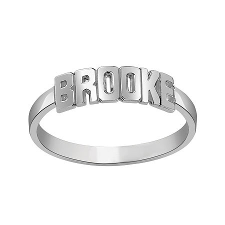 Personalized Block Name Ring, 5 , White