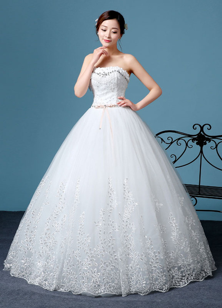 Milanoo Princess Wedding Dress Lace Strapless Embroidered Beading Backless Bridal Gown Floor Length Bridal Dress