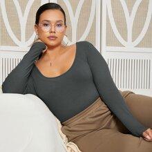 Plus Scoop Neck Rib-knit Bodysuit