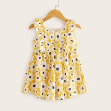 Toddler Girls Daisy Floral Ruffle Babydoll Dress