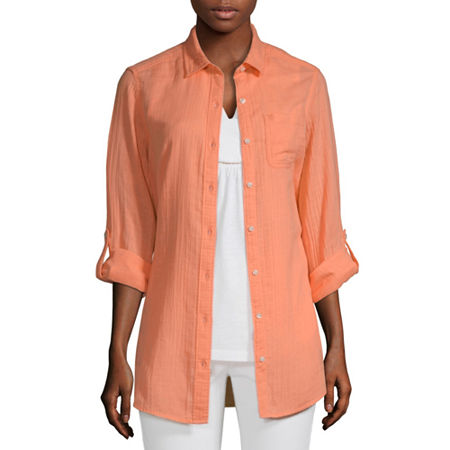 St. John's Bay Womens Long Sleeve Button-Down Shirt, Medium , Orange
