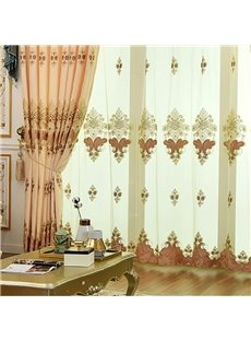 European Elegant Embroidered Floral Breathable Custom Blackout Living Room Sheer Curtains