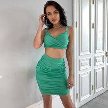Ruched Crop Cami Top & Bodycon Skirt Set