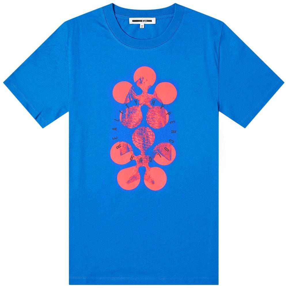 McQ Alexander McQueen Graphic Print T-Shirt Colour: BLUE, Size: LARGE
