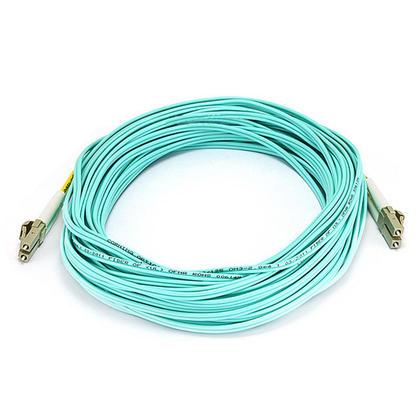10Gb Fiber Optic Cable, OM3 LC/LC, Multi Mode, Duplex (50/125 Type) - Aqua - Monoprice® - 15m