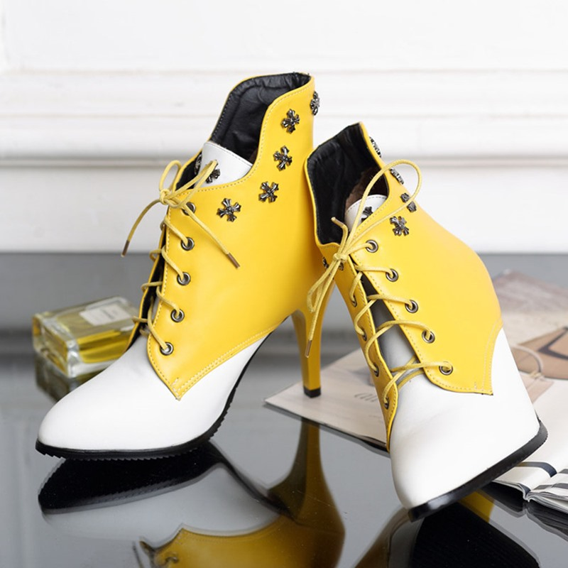 Ericdress Lace-Up Front Pointed Toe Color Block Rivet Boots