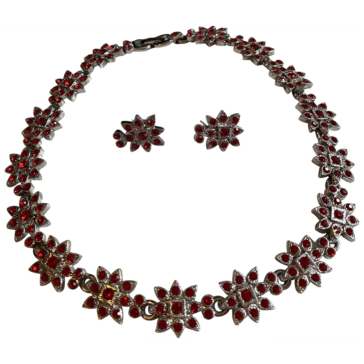 Non Signe / Unsigned Motifs Floraux Schmuck-set in  Rot Metall