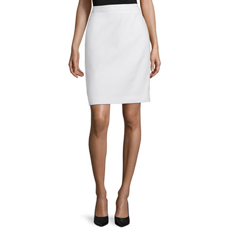 Liz Claiborne Womens Mid Rise Midi Pencil Skirt, 14 , White