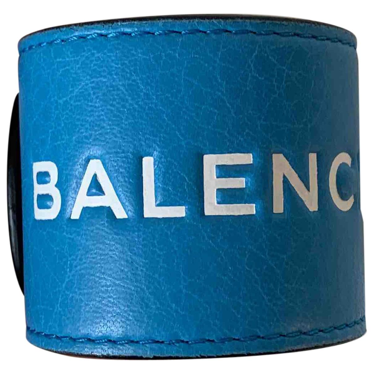 Balenciaga - Bracelet   pour femme en cuir - bleu