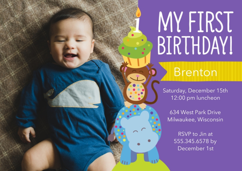 Kids Birthday Party Invites 5x7 Cards, Premium Cardstock 120lb with Rounded Corners, Card & Stationery -Animal Cupcake Birthday Party - Boy
