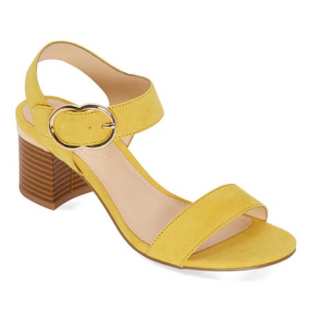 Liz Claiborne Womens Lovey Heeled Sandals, 8 Wide, Yellow