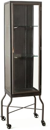 ZWLBGC18 The Iron City Collection 18-Inch Cabinet with Glass Shelves and Wheels in
