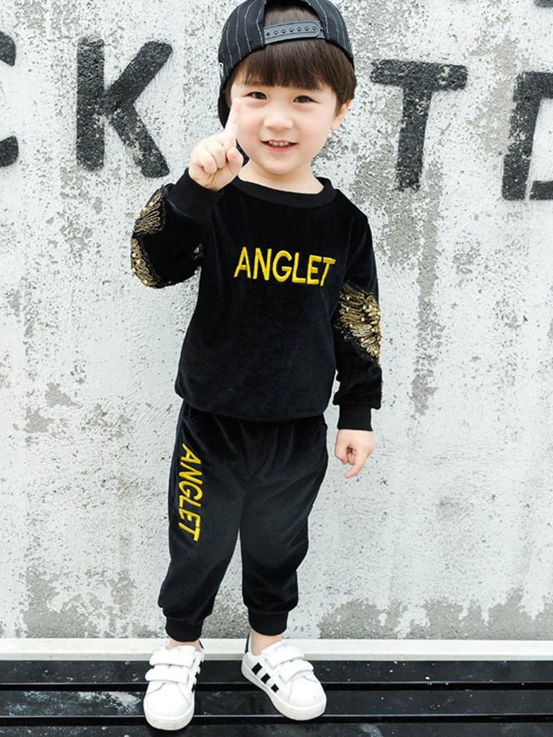Ericdress Letter Print Bead Baby Boy's Sports Suit Hoodie Pants